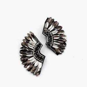 Metallic Silver Wing Sequin Earrings